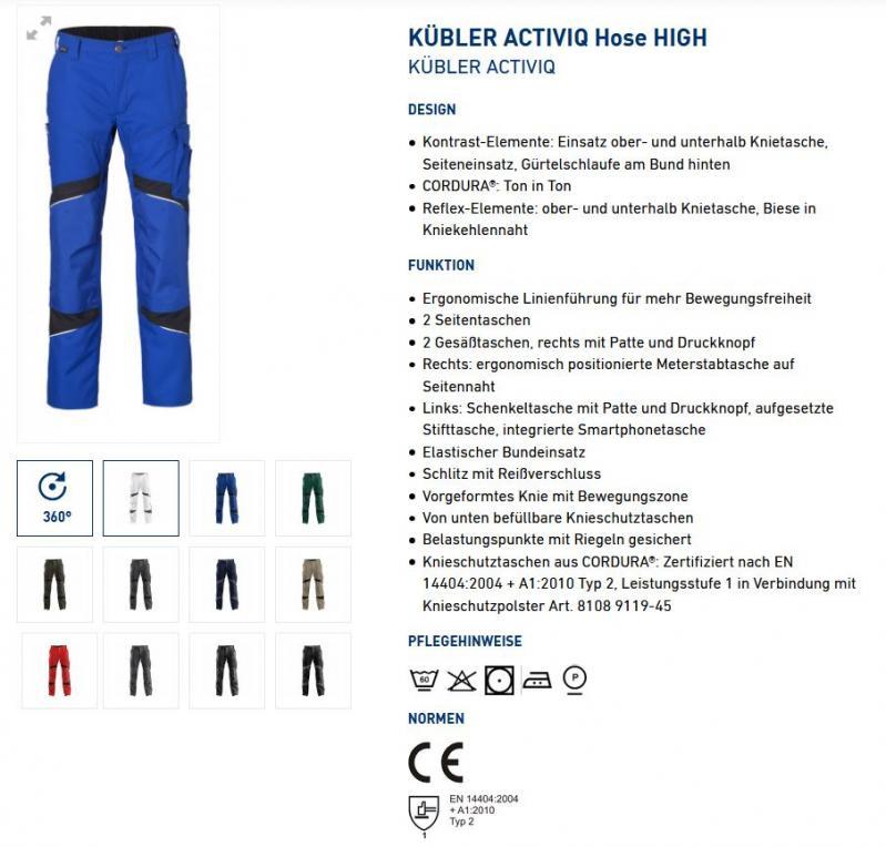KÜBLER ACTIVIQ Hose HIGH 2350