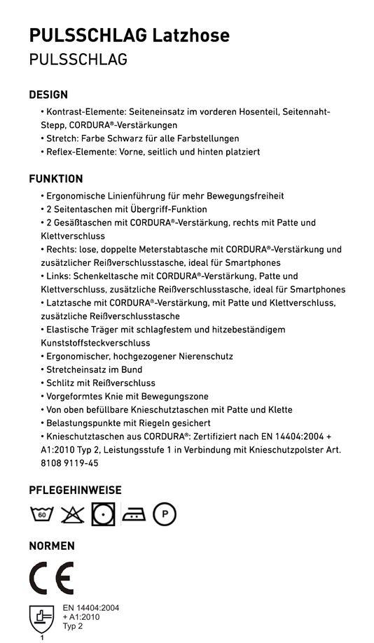 PULSSCHLAG Latzhose 3324
