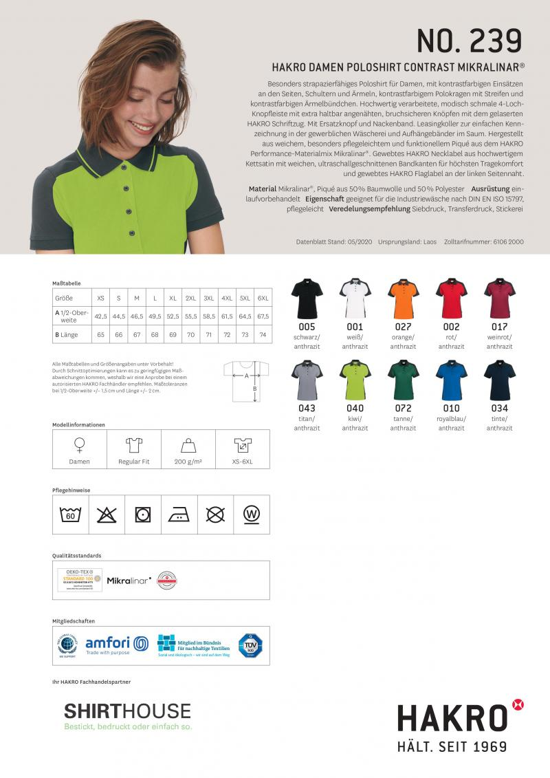 Women-Poloshirt-Contrast Performance Hakro 239